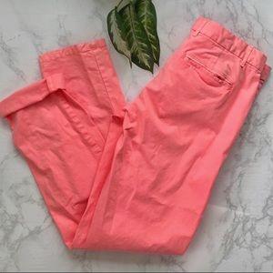 Gap broken in straight neon pink khaki pants 2